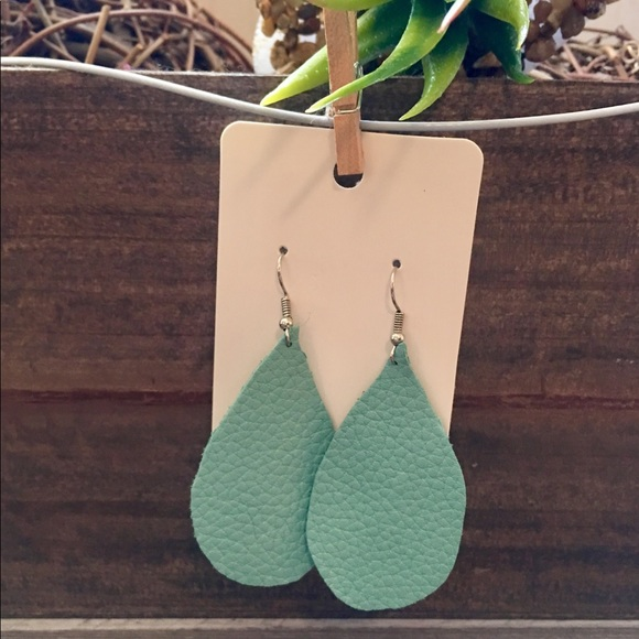 Handcrafted Jewelry - Boutique Leather Earrings Handcrafted Blue New!
